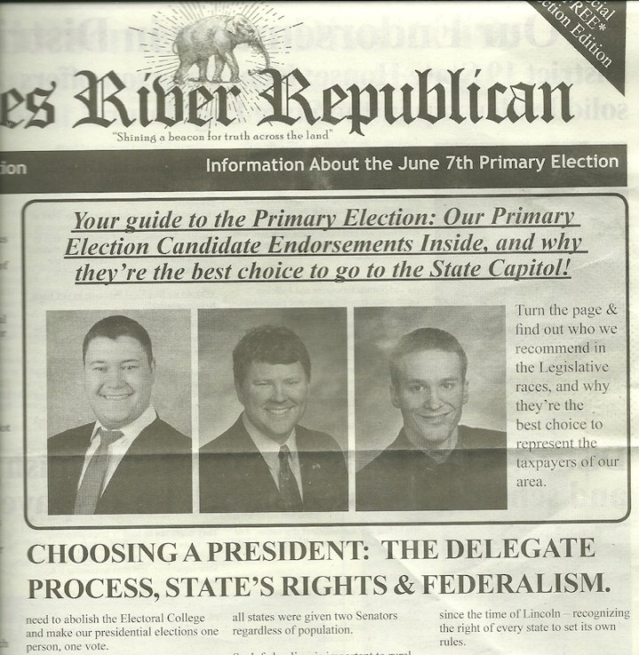 "clip from ""James River Republican"" campaign newsletter, June 2016"
