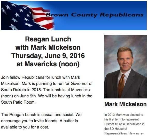 Brown County Republicans, lunch invite, June 2016