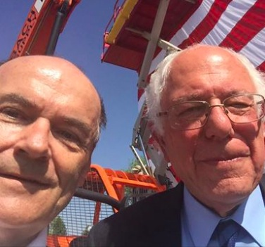 """Good work, Bernie. Now let's get behind Hillary!"" Jay Williams and Bernie Sanders, from Williams campaign FB, Rapid City, SD, 2016.05.12."