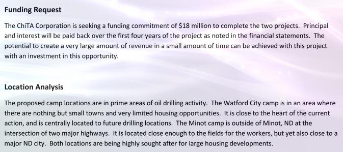 ChiTA funding request, circa 2011–2012.