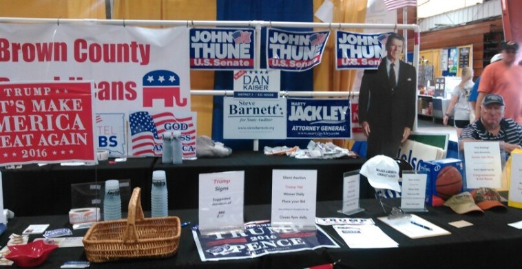 Cardboard Reagan at Brown County GOP booth, Brown County Fair, 2016.08.18.