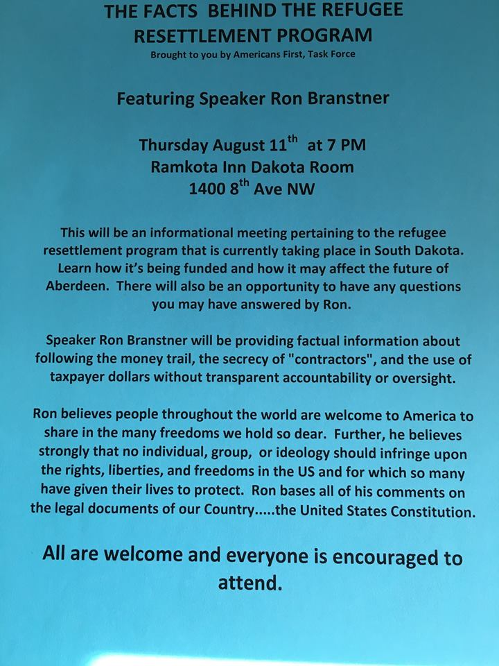 Americans First, Task Force flyer for Ron Branstner presentation, posted to Facebook 2016.08.05.
