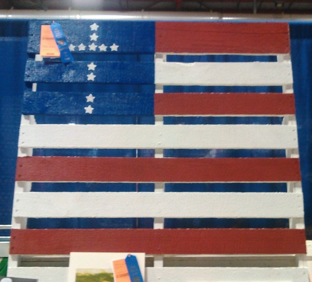 Pallet flag with cross of stars, Brown County Fair, Aberdeen, South Dakota, 2016.08.18.
