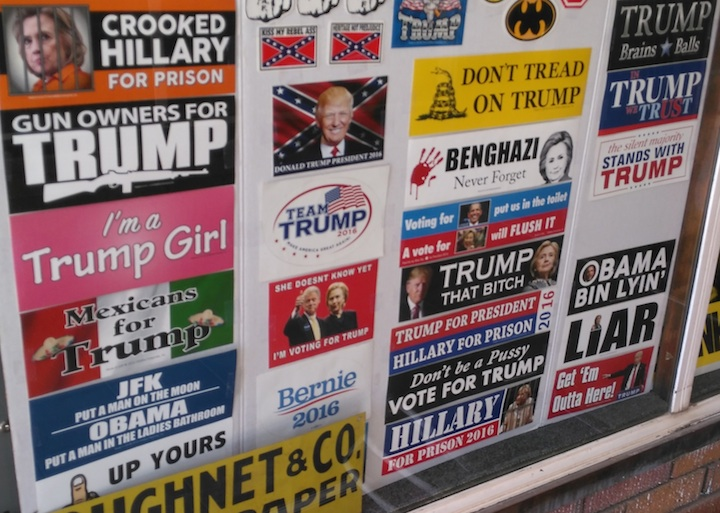 Pro-Trump/Anti-Clinton bumper stickers for sale, Sturgis, South Dakota, July 31, 2016.