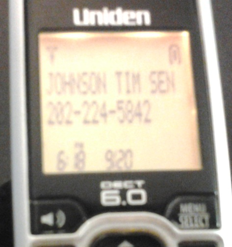Caller ID on call from Senator Mike Rounds, 2016.09.20.