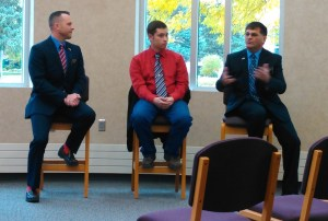 Republicans Rep. Dan Kaiser, Drew Dennert, and Rep. Al Novstrup speak at NSU Noon Forum, 2016.10.13.