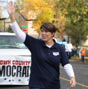 Paula Hawks, our Democratic candidate for U.S. House, leads the Democratic parade entry.