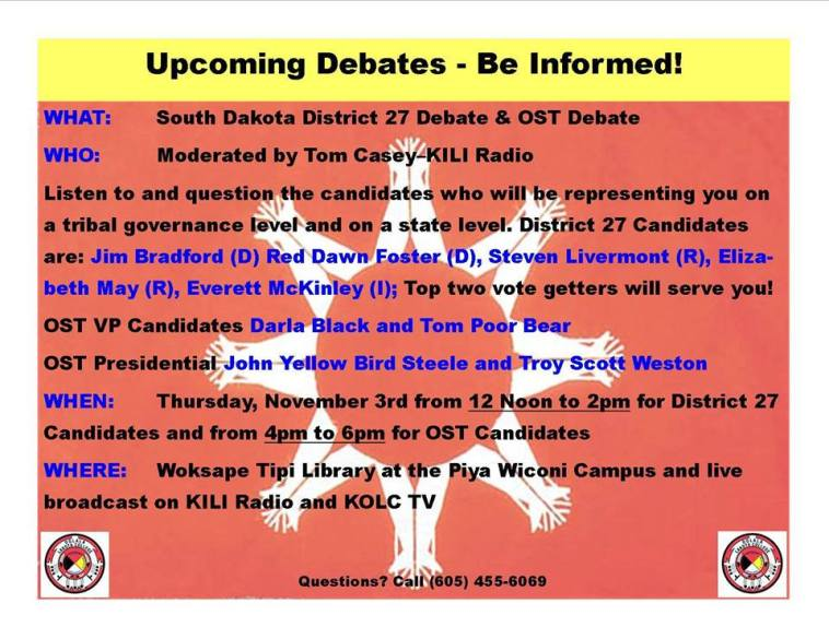 OST/District 27 debates, Woksape Tipi, Oglala Lakota College, 2016.11.03
