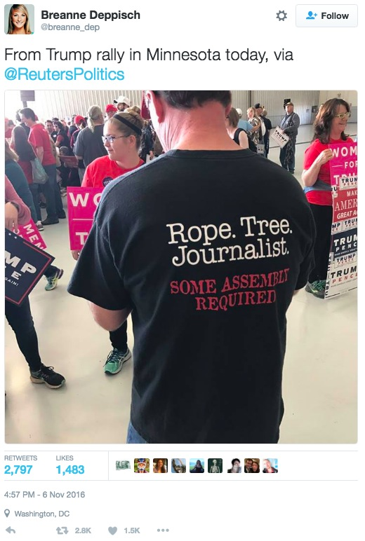 "Breanna Deppisch tweet showing Reuters photo of ""Rope Tree Journalist"" t-shirt at Trump MSP rally 2016.11.06"