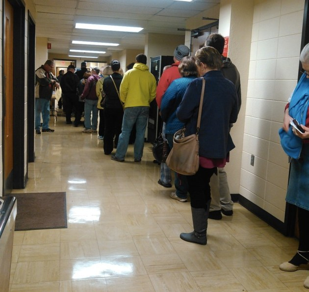 A lot of neighbors with crib notes, waiting to vote at 7:02 a.m. at the Brown County Courthouse, Aberdeen, South Dakota, Election Day, November 8, 2016.