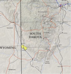 Map of proposed Azarga uranium mining operation, northwest of Edgemont, SD. From AzargaUranium.com.
