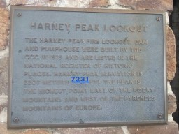 Harney Peak Lookout plaque, with revised altitude