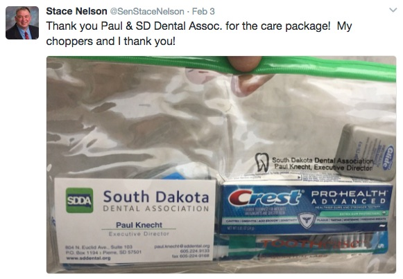 Senator Nelson discloses latest gift from lobbyists... and keeps his smile healthy! Twitter, 2017.02.03.