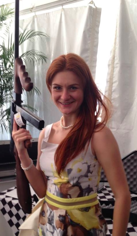 Butina with machine gun in Russia, 2015