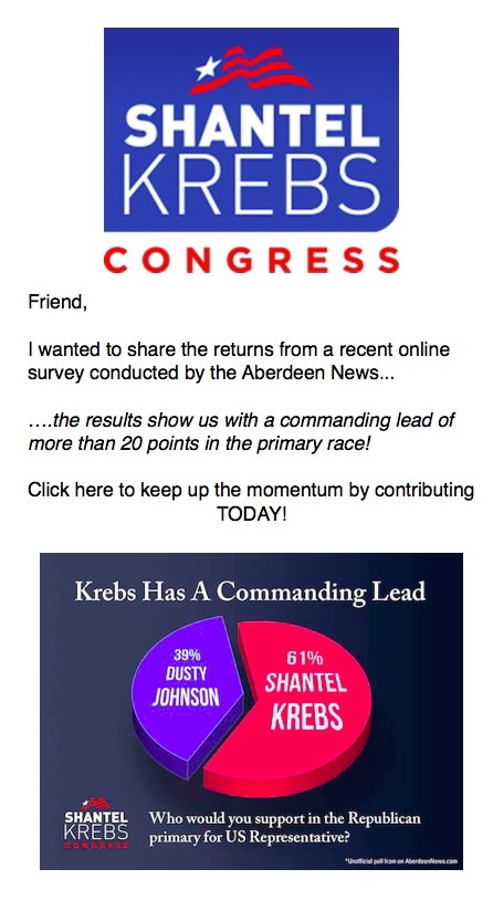 Images and text from Shantel Krebs for Congress campaign e-mail, modified slightly in font and image size, received 2017.03.28.