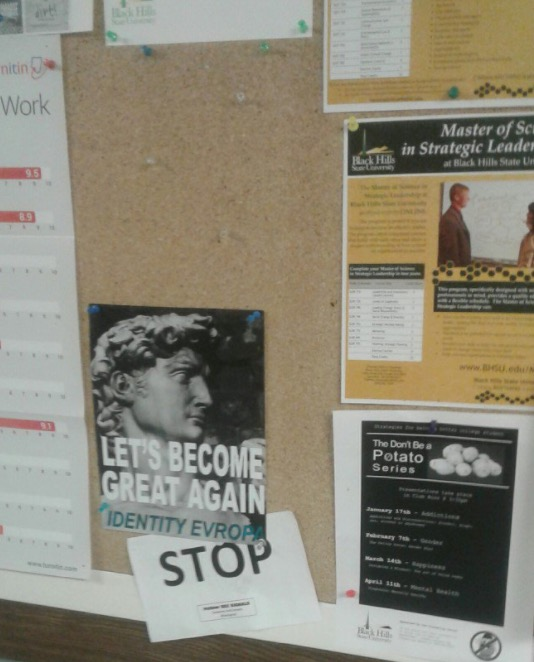White supremacist poster on BHSU campus, from tweet dated 2017.02.26.