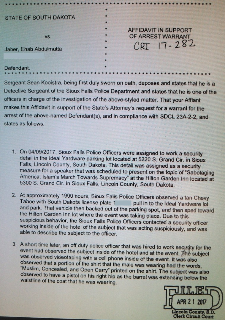 Sgt. Sean Kooistra, SFPD, Affidavit in Support of Arrest Warrant, State v. Jaber, #41CRI17-000282, 2017.04.21, p.1.