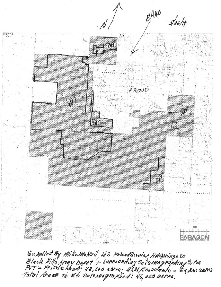 Map of seismic testing area, included in Fall River County Commission agenda packet, 2017.05.02.