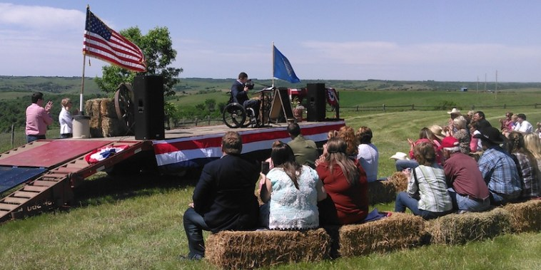 Blue sky: Sen. Billie Sutton announces his candidacy to a crowd gathered at the Sutton Ranch on the banks of the Missouri River.