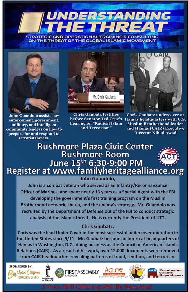 "Poster for ""Understanding the Threat"" distributed by Family Heritage Alliance, 2017.05.22."