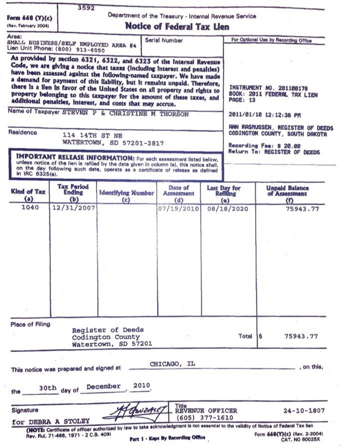 Federal Tax Lien #201100178.