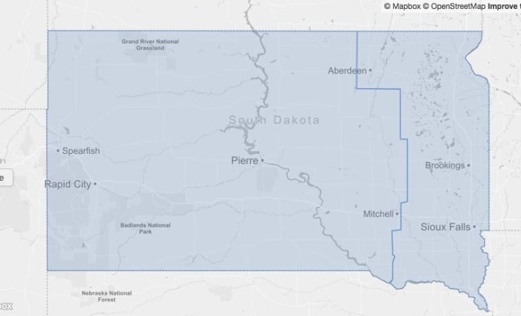 Jeffrey B. Lewis, Congressional district map of South Dakota, 90th–92nd Congresses.