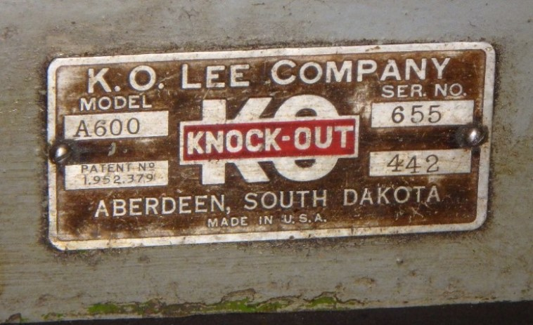 Nameplate on K.O. Lee Grinder Model A600