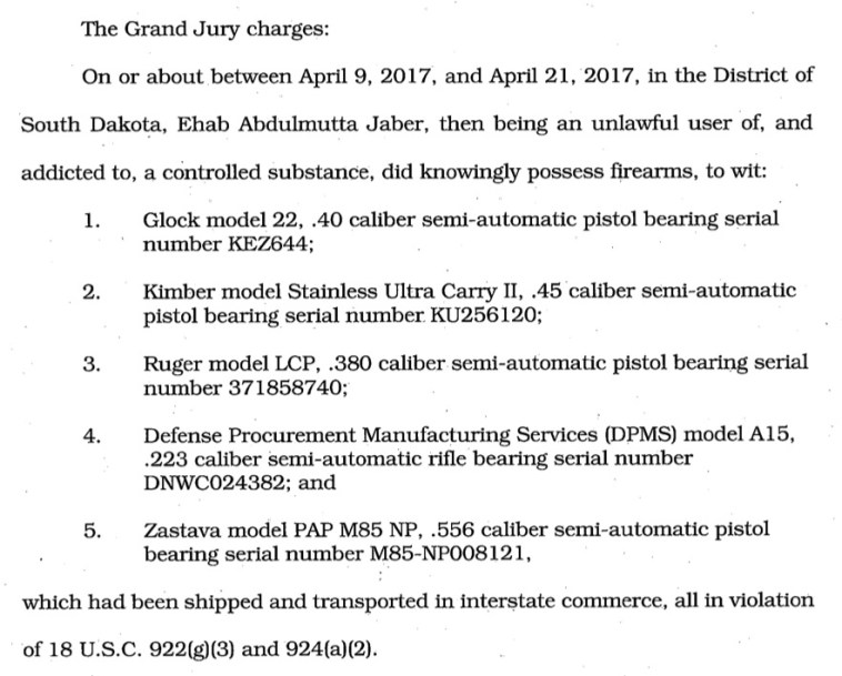 USA v. Jaber, #4:17-cr-40036-LLP, redacted indictment, 2017.05.09