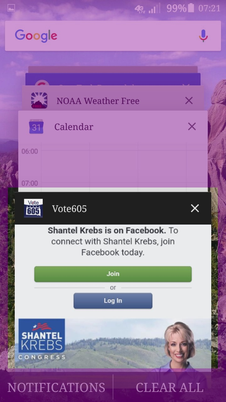 Screen cap of my Open Apps screen, showing Vote605 app heading with app displaying Shantel Krebs's campaign Facebook page (highlighted), 2017.07.07.
