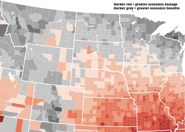 """Map clip from Natalie DelGadillo, """"Map: How Much Climate Change Will Cost Each U.S. County,"""" Governing, 2017.08.23."""