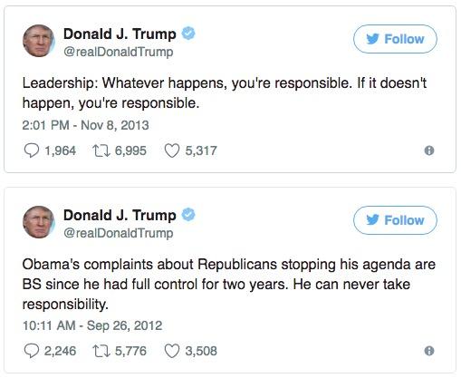 Donald Trump, tweets, 2013.11.08 and 2012.09.26.