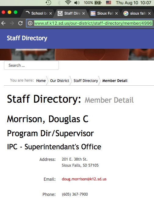 Sioux Falls School District staff directory, screen cap 2017.08.10.