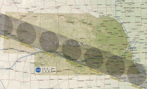NASA map of eclipse path of totality across Nebraska, 2017.08.21.