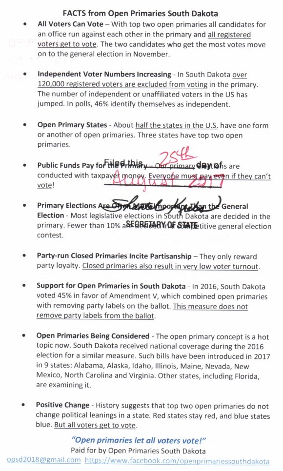 Open Primaries fact sheet, approved by SOS Krebs 2017.08.23.
