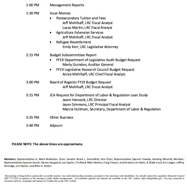 South Dakota Legislature Executive Board, agenda, 2017.08.28, p. 2, retrieved 2017.09.03.