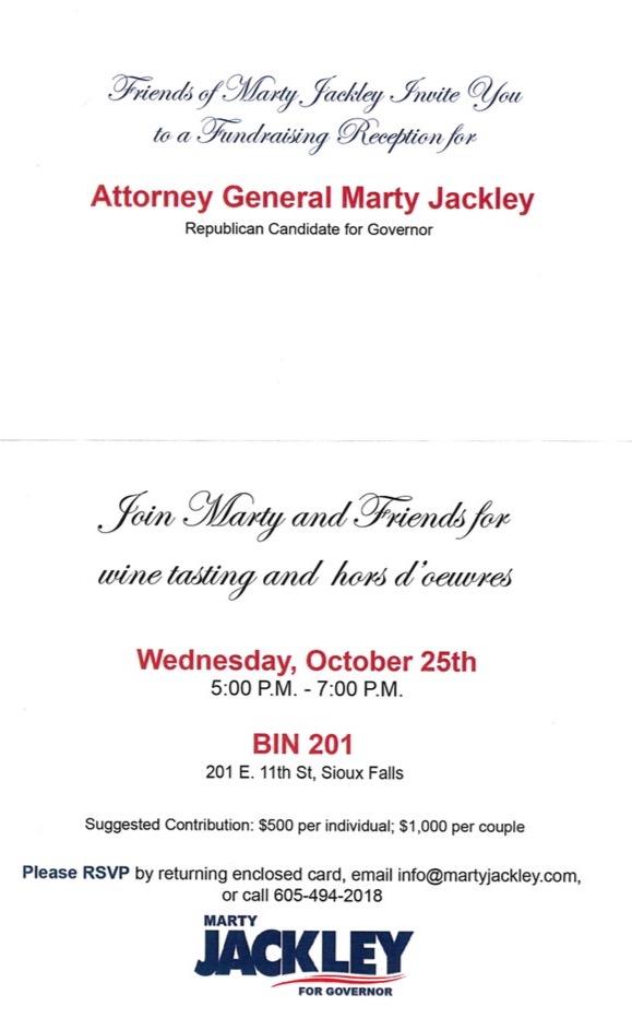 Invitation to Jackley fundraiser, inside.