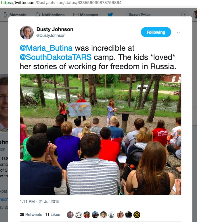 "Dusty Johnson thought Maria Butina was ""incredible"" at TARS Camp in 2015. Incredible, indeed."