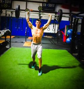 Overhead walking lunges