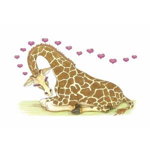 """Giraffe Love"" by Dakota Midnyght Art"