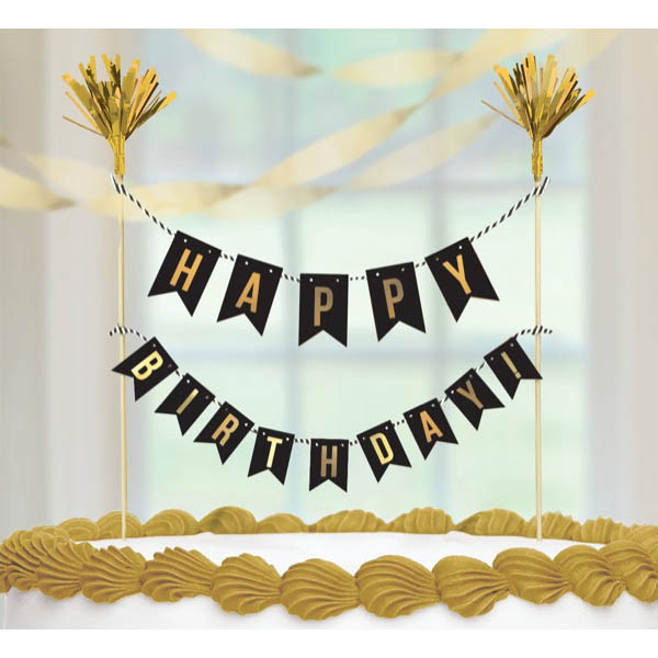Metallic Gold Birthday Cake Pick Banner Dakota Party