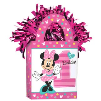 Pink 1st Birthday Glitter Pennant Banner Minnie Mouse Fun To Be One Balloon Weight