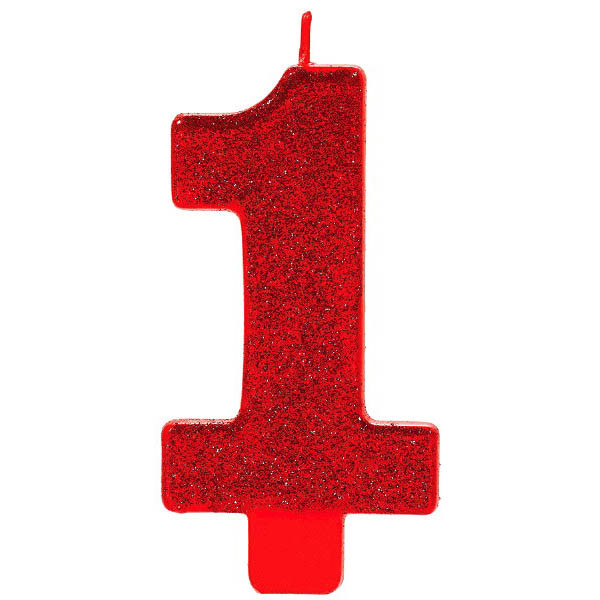 Red 5 Glitter Number 1 Birthday Candle
