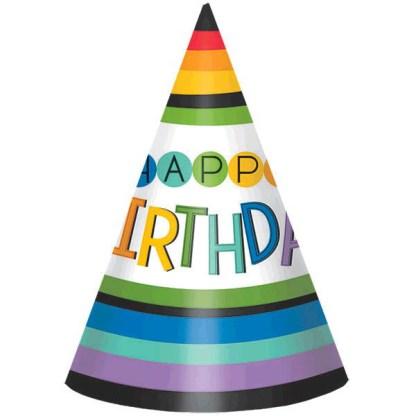 Rainbow Birthday Party Hat 8ct