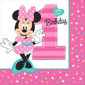Minnie Mouse Fun To Be One 1st Birthday Lunch Napkins 16ct