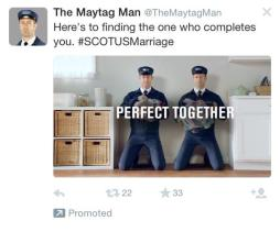 #SCOTUSMarriage Tweet by The Maytag Man