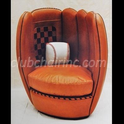baseball leather sofa sleeper chaise lounge glove chair