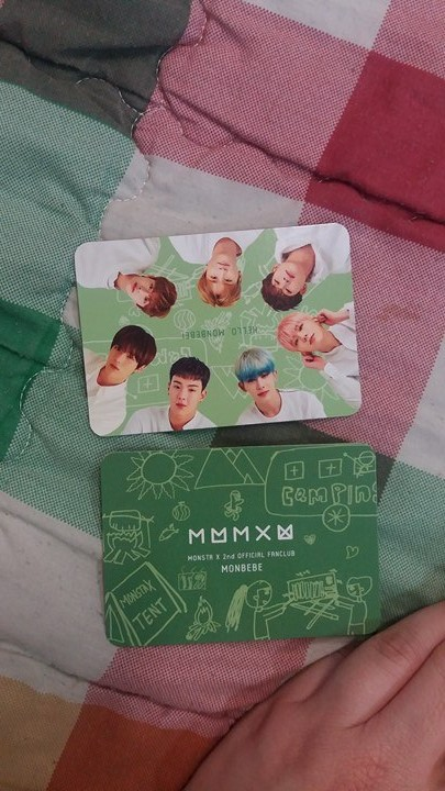 Photo card. Green card you are meant to fill out on the back.