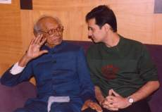 naushad Dale Bhagwagar with the late composer Naushad during the making of Taj Mahal - An Eternal Love Story