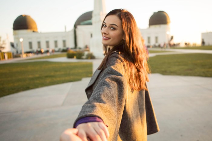 A file pic of Evelyn Sharma holding hands at the Griffith Observatory in LA.