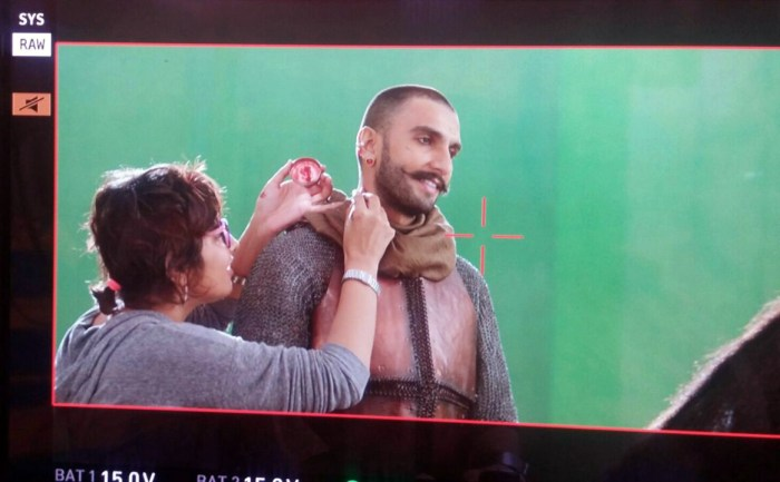 Preetisheel Singh working on Ranveer Singh's look during Bajirao Mastani.